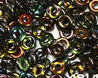 MAGIC COPPER: O Bead Czech Glass Sequin Ring Bead, Reversible 2x4mm (5 grams)