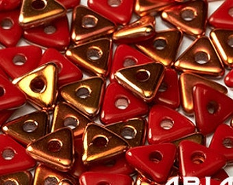 OPAQUE RED SUNSET: Tri-Bead Czech Glass Triangle Bead, Sequin or Spacer, Reversible 4mm (5 grams)