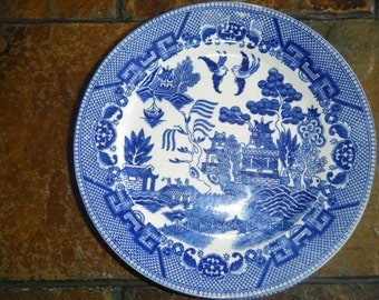 Six Antique BLUE WILLOW PLATES no chips unmarked on back.  Price is for each.  Some have a slightly different pattern.