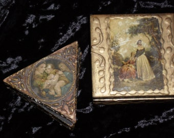 Two Very Old Gilt Florentine Tole Wooden Trinket Boxes Made In Italy