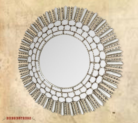 Handmade large decorative round wall mirror 31 5 silver for Large silver decorative mirrors