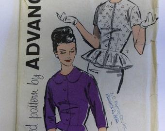 Vintage 1960s Advance 9599 OVERBLOUSE w/ PEPLUM sz 16 Complete womens pattern