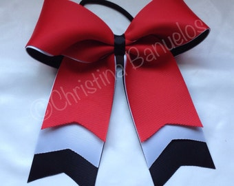 Red Whit Black Trio Layer Cheer/Softball Bow - #190474463