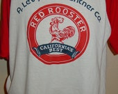 vintage Raglan 1980s Red Rooster 3/4 sleeve jersey t shirt 50/50