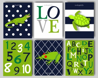 Baby Boy Nursery Art, Alligator Nursery, Alligator Art,  Alphabet Print, ABC Print, Alligator Wall Art, Frog Wall Art, Choose Colors AL1704