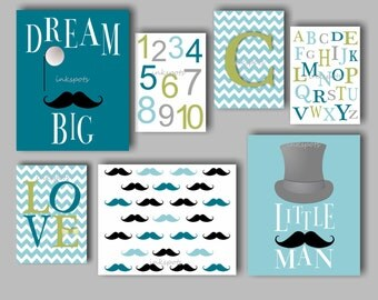 Little Man Nursery Bedding Decor Mustache Nursery Bedding Decor Baby Boy Nursery Art Dream Big Art Mustache Wall Art Choose Colors LM1202
