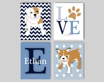 Baby Boy Nursery Art, Dog Nursery, Dog Wall Art, Puppy Dog Nursery, Puppy Prints, Dog Prints, Puppy Wall Art - CHOOSE YOUR COLORS - DG4711