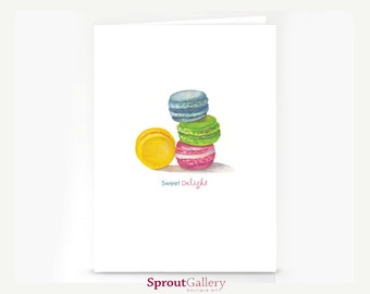 Macaroons greeting card. Reads 'Sweet Delight'