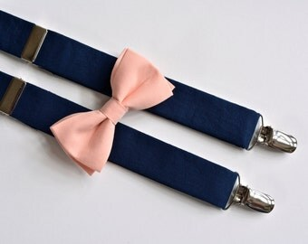Boys navy blue suspenders and peach bow tie set