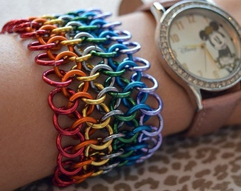 Rainbow PRIDE Chainmaille Cuff