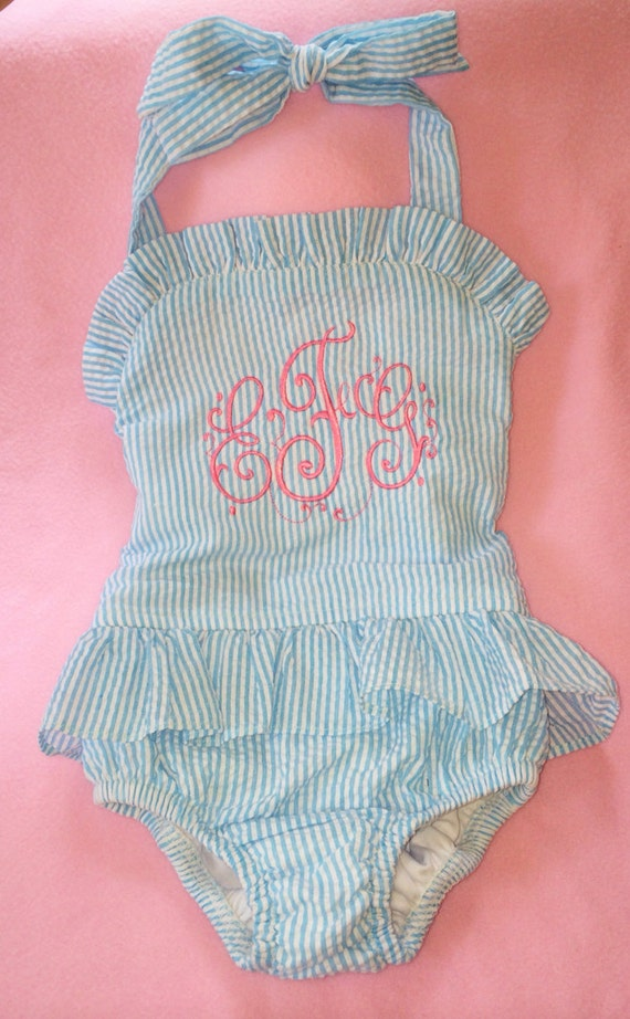 items similar to monogrammed swimsuit  toddler swimsuit  monogrammed one piece  seersucker