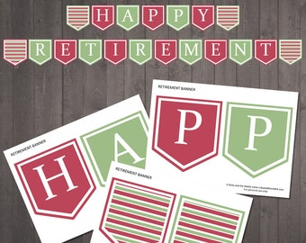 "PRINTABLE ""Happy Retirement'' banner - INSTANT DOWNLOAD"