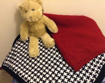 Knit Houndstooth and Crimson Baby Blanket