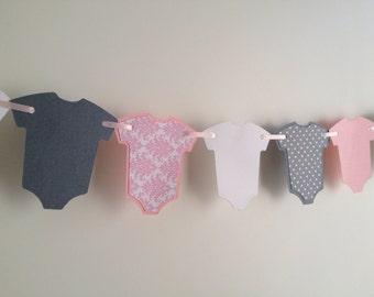 Pink Baby Shower Decor, Pink Baby Garland, Shabby Chic Baby, Pink and Gray Garland, Pink and Gray Baby Shower Decor, It's A Girl Baby Shower