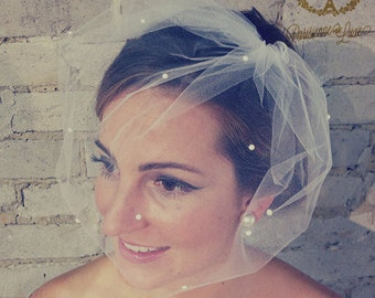 MARIE MEDIUM w/ Pearls all over - Birdcage Veil with Pearls,  Blusher Veil, Tulle Bridal Veil, White, Ivory, OffWhite, Blusher Veil, Wedding