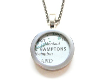 The Hamptons Map Pendant Necklace