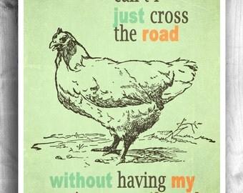Typographic poster, kitchen print, chicken sign, wall decor, digital print, quote art, Kitchen Art, chicken print, Art For Kitchen