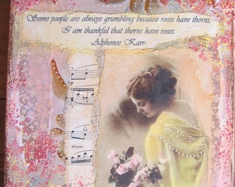 Painting Roses Mixed Media Collage
