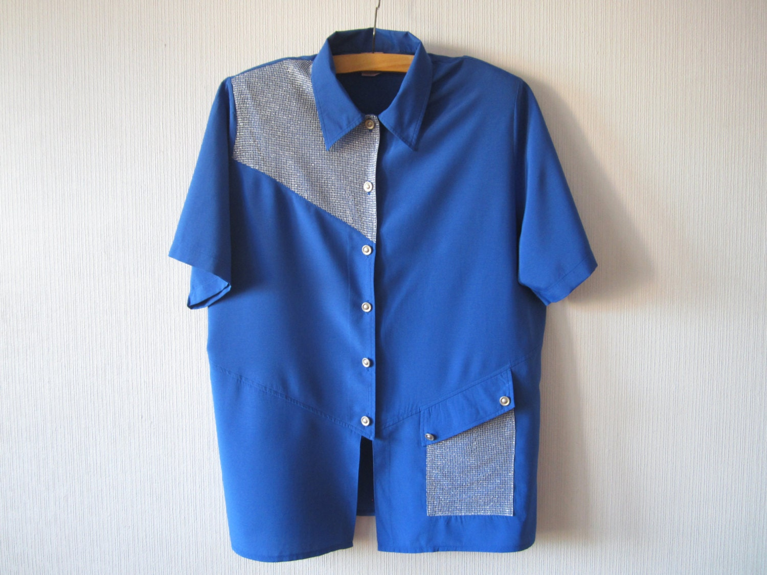 Royal blue summer blouse button up shirt short sleeve womens for Royals button up shirt