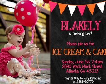 Chalkboard Pink and Orange Birthday Invitation
