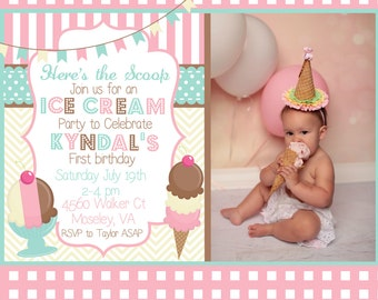 Gingham, Chevron, and Polka Dots Neapolitan Ice Cream Birthday Invitation