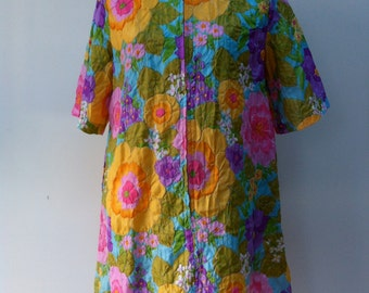 Vintage 1960's Lounge Dress. Brightly Coloured Floral Puckered Polyester By Mr. Robert.