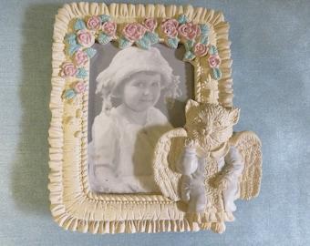 Vintage United Design angel kitty photo frame_vintage 90's_cottage chic housewares_picture frames