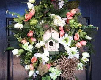Large Elegant Year Round Grapevine Wreath Church Birdhouse Fall Autumn Wedding Peach Cream Green Floral Arrangement