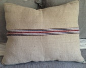 Large Vintage European Grain Sack Pillow with Zipper and filled with 100% Cotton.