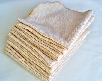 All Natural Birdseye Unpaper Towels - one dozen - Unbleached, Reusable paper towel alternatives - You Choose Thread Color