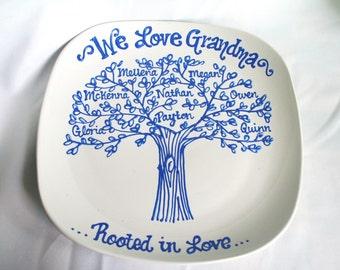 The Original We Love Grandma, Grandmother Family Tree Grandchildren Personalized Custom Name Grandparents Plate