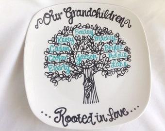 The Original Grandparents Family Tree Grandchildren Personalized Custom Name Grandmother Grandma Nana Plate