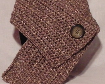 Chunky Brown and Tan Tweed Ribbed Cowl Neckwarmer
