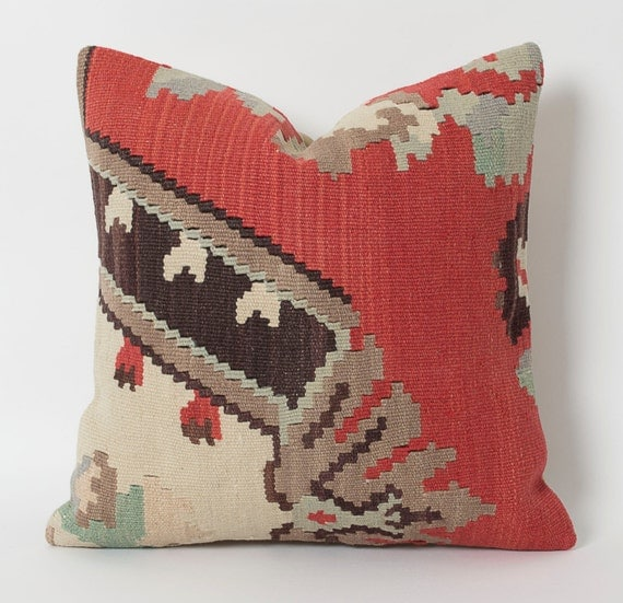 Vintage Kilim Pillow Cover - Decorative Kilim Pillows Hand Embroidery Wool Cushion Bohemian Home Decor Sofa Accent Pillow Throw Kilim Pillow