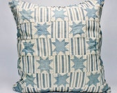 """Vintage Quilt Pillow Large at 19"""" Square Country Cottage Chic Bedroom or Living Room Decor Star Pattern Ticking"""