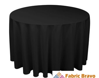 """Black 120"""" Inch 100% Woven Polyester Round Tablecloth For Weddings, Parties & Home Use 9040"""