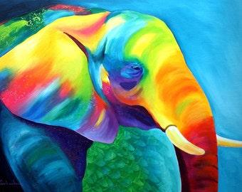 Elephant ACEO Print of original acrylic  painting by Tetiana