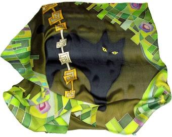 Black Cat silk scarf in green. Pure silk Hand painted silk scarf with black, yellow and  green painted silk.  Batik silk scarves