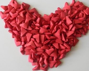 500 Red origami hearts, confetti, table scatter, birthday, wedding favor