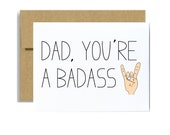 Dad youre a badass card - Fathers day funny greeting card Dad you're a badass rocker hands  funny pun dad birthday Bad Ass Father papa