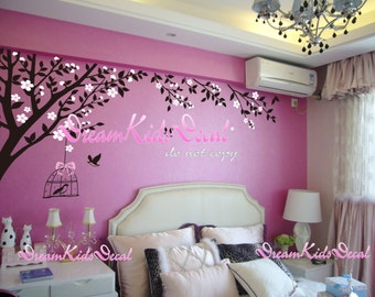 Wall Decal Wall Sticker tree decals-Cherry blossom tree branch with flying birds DK141