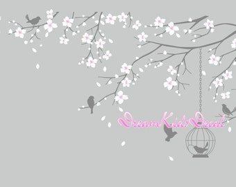 Tree wall Decal Wall Sticker Baby Nursery Decals Girls Room Decal-Cherry Blossoms Tree Decal-DK098