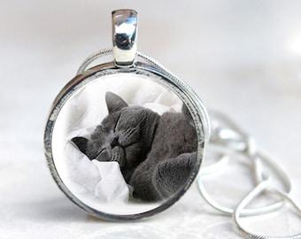 Cat Photo Necklace - British Blue Cat Photo Necklace (cat Photo 9)