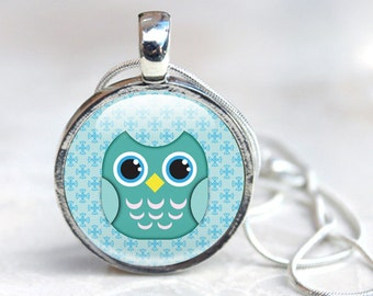 Owl Necklace, Glass owl pendant, Owl Glass Pendant Necklace, Owl Jewellery (OWL 2)