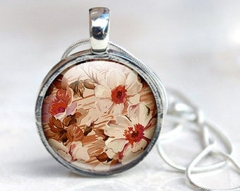 Glass Photo Pendant  - Retro Flower Pendant - Flower Glass Pendant - Floral Photo Pendant - (flower 3)