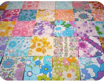 9 floral retro vintage fabric squares 15*15 cm for patchwork / cushion cover - pack / kit / bundle