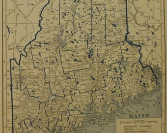 Vintage maryland map Etsy