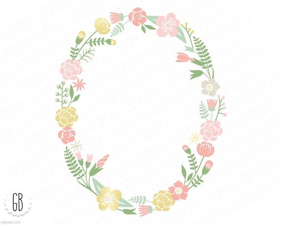 Flower wreaths, floral heart, antlers, floral frames, crossed arrows, pastel color, clip art ...