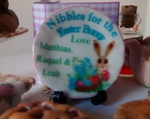 Dolls House miniature Personalize Nibbles for the Easter Bunny Ceramic Plate
