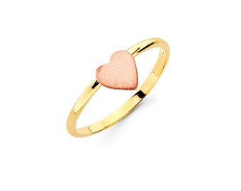 14K Two Tone Rose and Yellow Gold Heart Ring, Heart Ring, Love, 14K Solid Gold, Two Tone Ring, Rose Gold, Yellow Gold, Heart, Hearts
